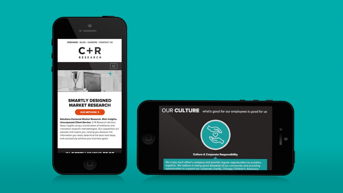 C+R Research website shown on mobile device landscape and portrait