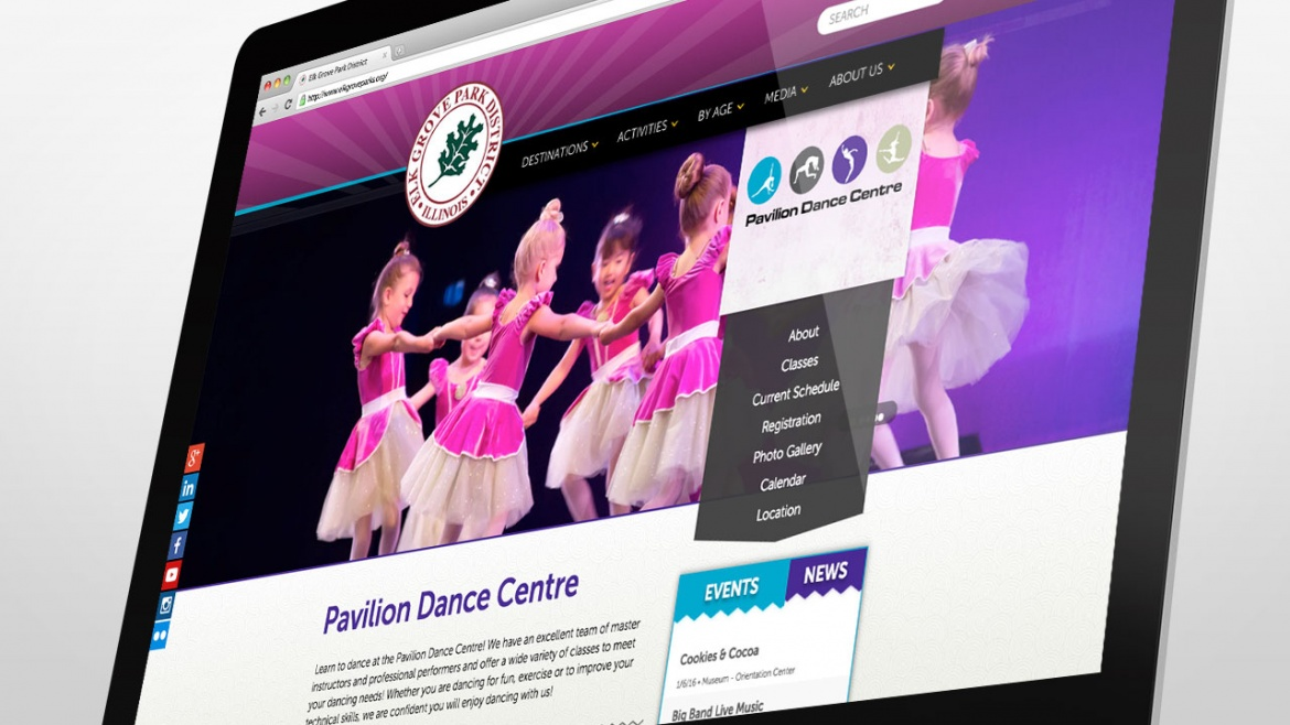 Elk Grove Park District website Pavilion Dance Center page