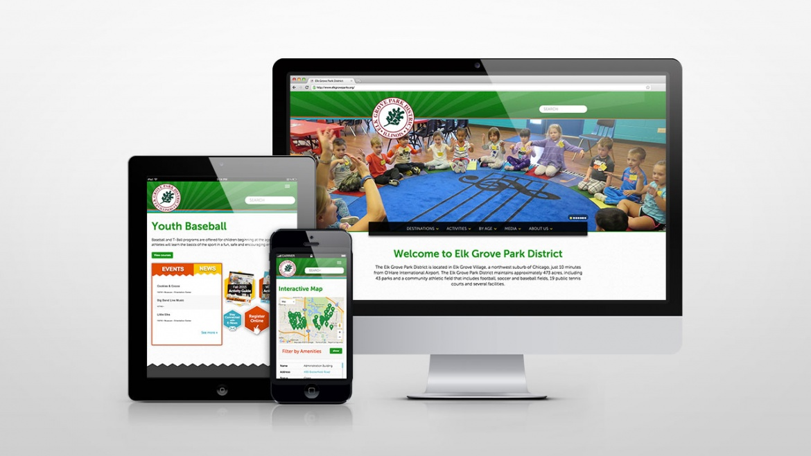 Elk Grove Park District website on desktop, tablet and mobile
