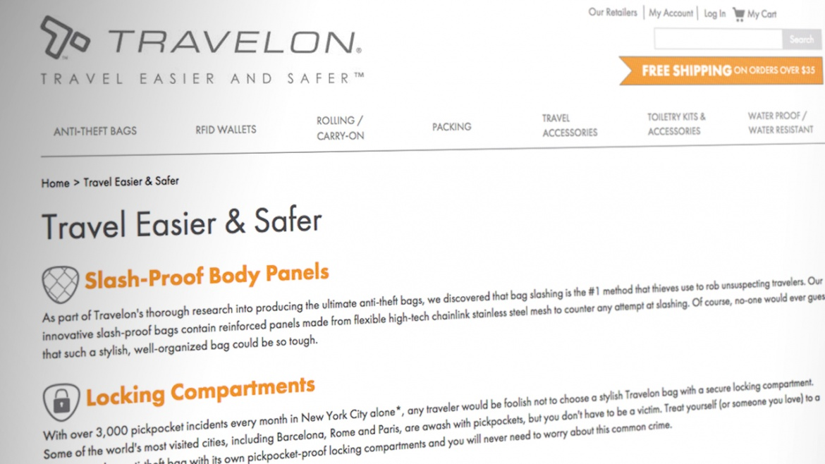 Travelon e-commerce website inside page template