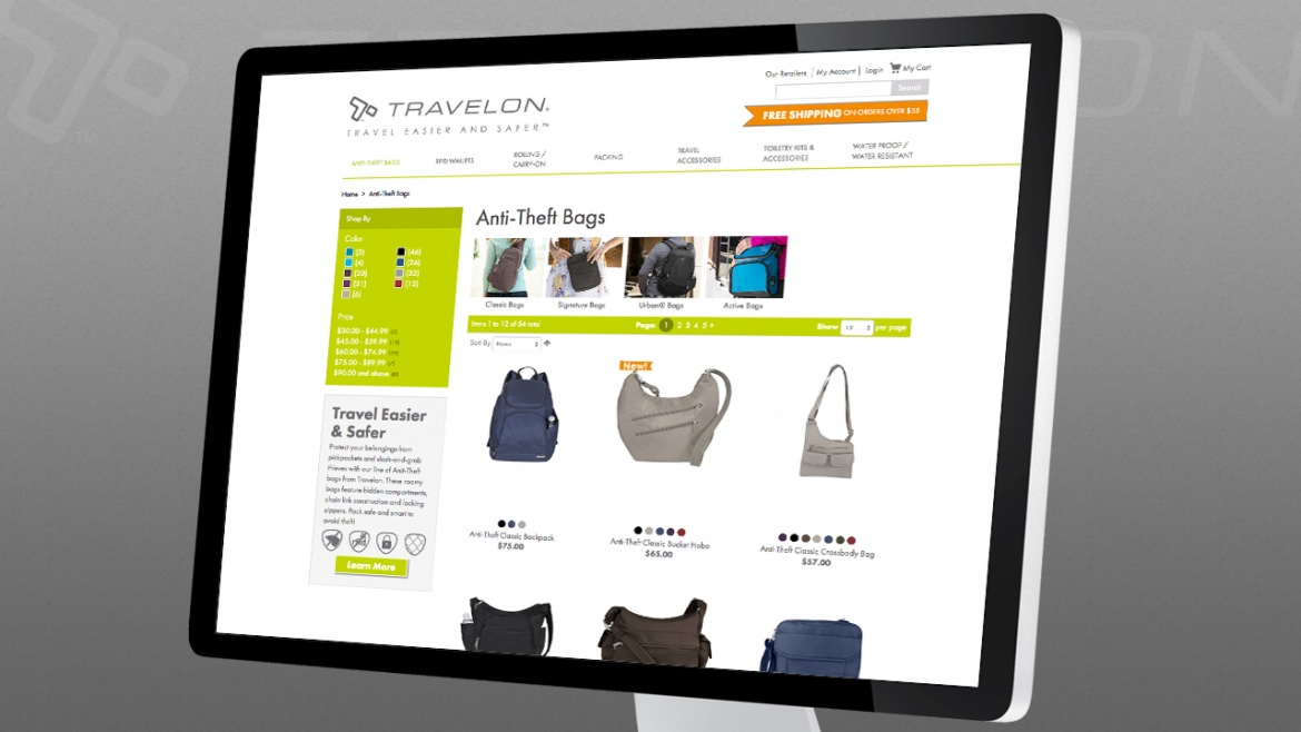 Travelon e-commerce website product filtering and searching