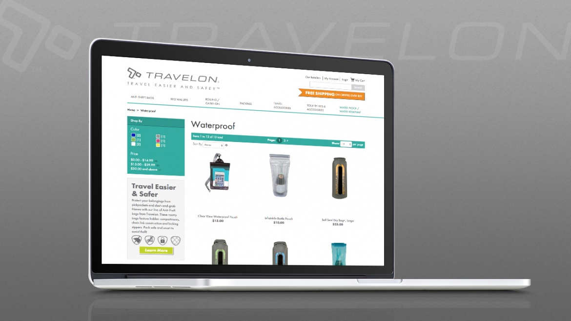 Travelon e-commerce website product grid list view